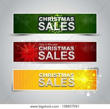 Christmas sale banner with fir trees on red backdrop. Yellow christmas sale banner.