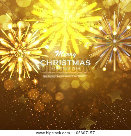 Christmas background with gold magic star. Blurred Christmas Lights for Xmas Holiday Design. Elegant Christmas background with golden snowflakes and place for text. Festive fireworks