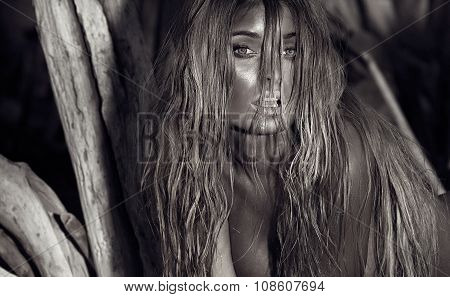 Beautiful Sexy Blonde Woman Topless On The Beach.