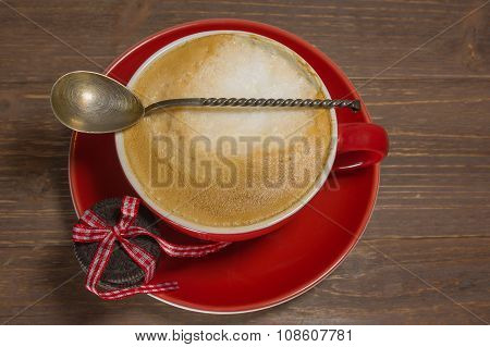 Close up Coffee cup with cappuccino.