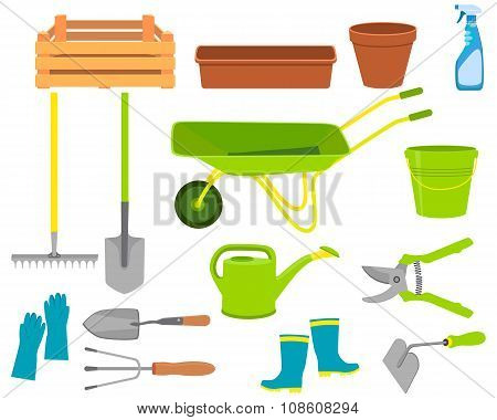 Set of icons garden tools isolated on white background. Vector illustration