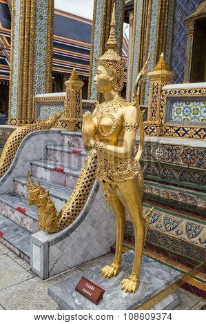 Kinnari Statue In The Temple Of The Emerald Buddha  Complex