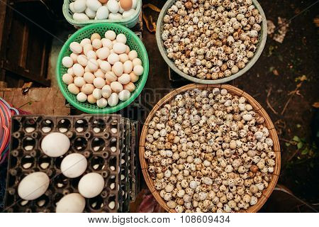 Eggs Assorted Market Top View
