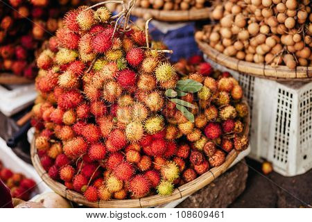 Rambutan Ripe At Tropical Market