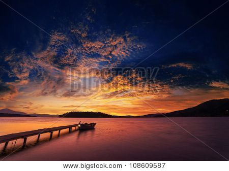 Sunrise on the bay of Nidri in Lefkas island Greece