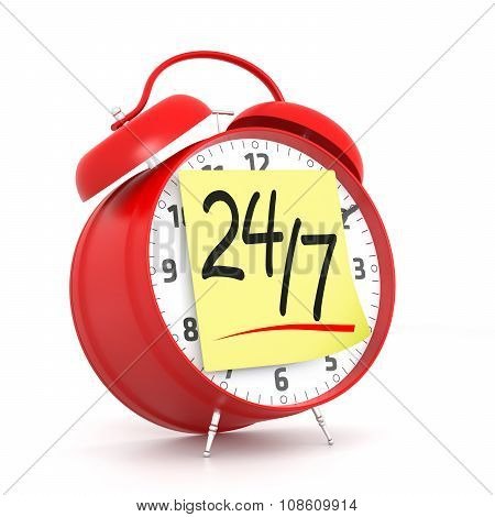 Red Alarm Clock With 24/7 Yellow Sticky. 3D Rendering