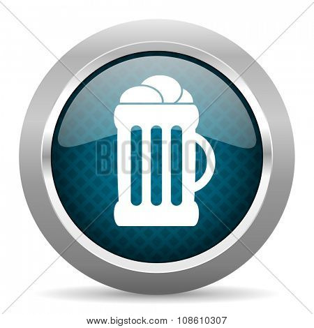 beer blue silver chrome border icon on white background