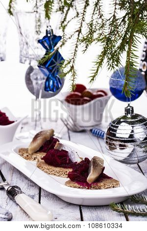Rye Toasts With Herring And Beets