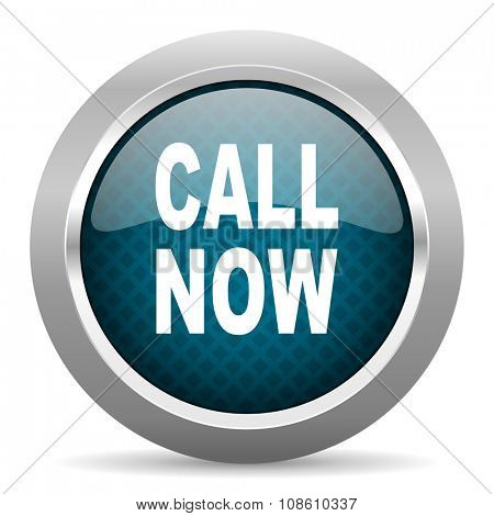 call now blue silver chrome border icon on white background
