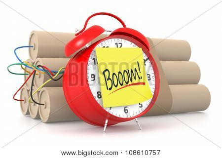 Red Alarm Clock With Boooom! Yellow Sticky. 3D Rendering