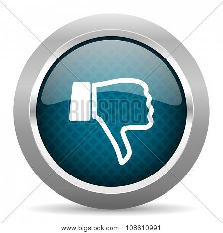 dislike blue silver chrome border icon on white background