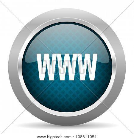 www blue silver chrome border icon on white background