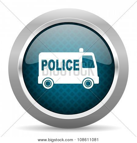 police blue silver chrome border icon on white background