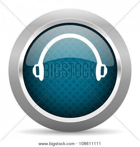 headphones blue silver chrome border icon on white background