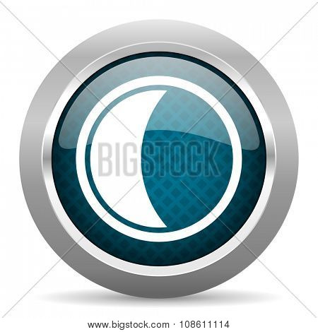 moon blue silver chrome border icon on white background