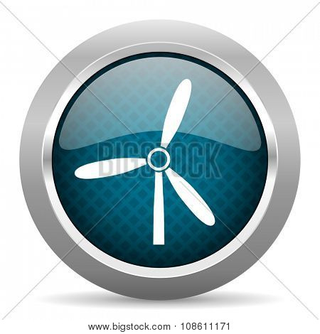 windmill blue silver chrome border icon on white background