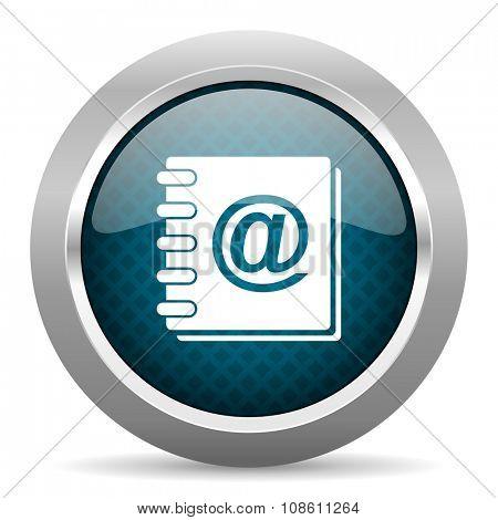address book blue silver chrome border icon on white background