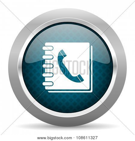 phonebook blue silver chrome border icon on white background