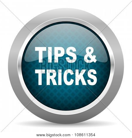 tips tricks blue silver chrome border icon on white background