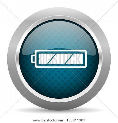 battery blue silver chrome border icon on white background