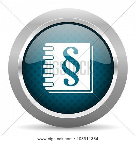 law blue silver chrome border icon on white background