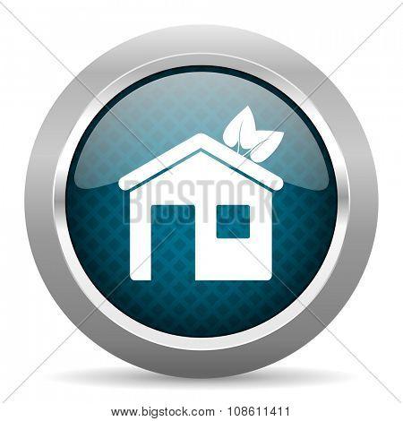 house blue silver chrome border icon on white background
