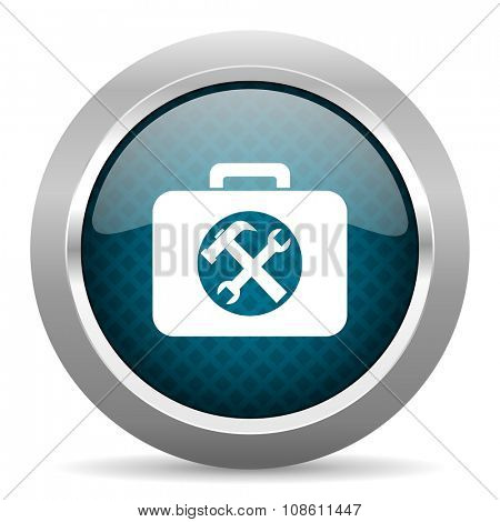 toolkit blue silver chrome border icon on white background