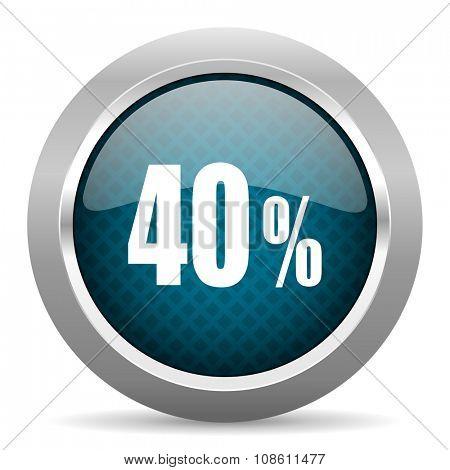 40 percent blue silver chrome border icon on white background