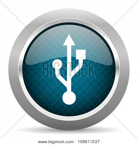 usb blue silver chrome border icon on white background