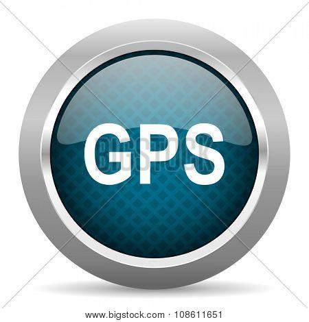 gps blue silver chrome border icon on white background