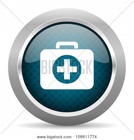 first aid blue silver chrome border icon on white background
