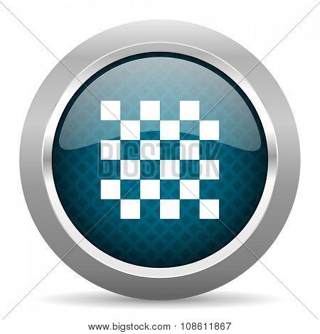 chess blue silver chrome border icon on white background