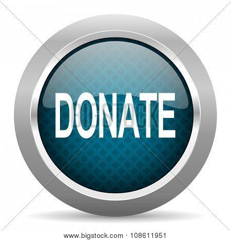 donate blue silver chrome border icon on white background