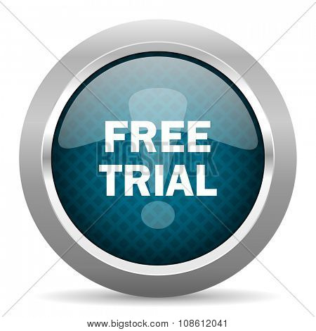 free trial blue silver chrome border icon on white background