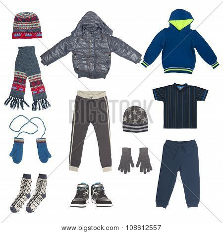 set of child winter clothing