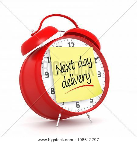 Red Alarm Clock With Next Day Delivery Yellow Sticky. 3D Rendering