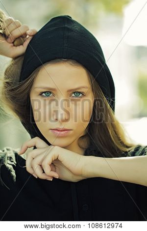 Pretty Girl Wearing Hood