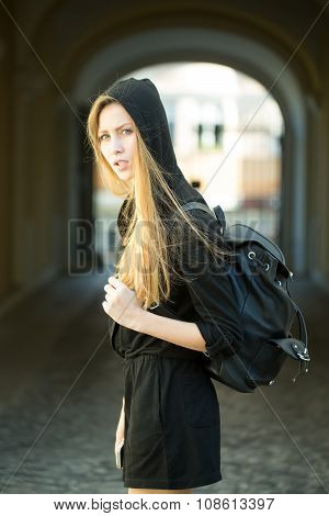 Woman With Bag Outdoor