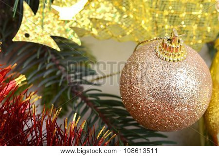 Decorated Christmas Tree With Various Gifts. Christmas And New Year Celebration. Holiday Christmas S