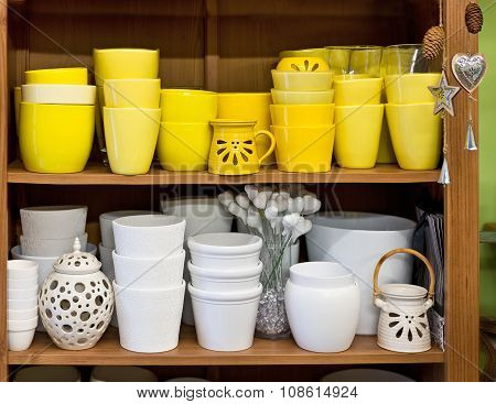 Ceramic Flowerpots In The Florist Store