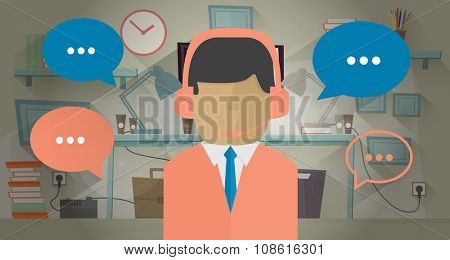 Call center operator in the office. Illustration in flat style. Communication concept. Man with headset. Communication bubble around operator