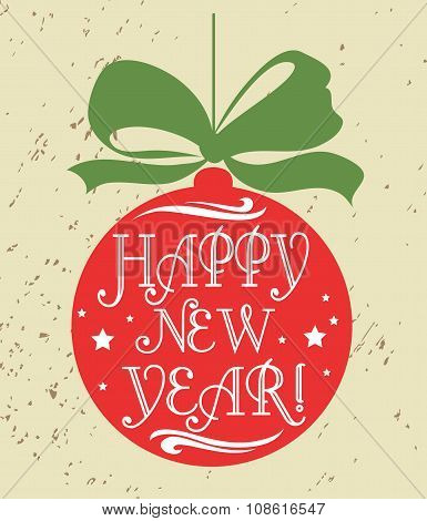 Typographical Greeting Card. Happy New Year.