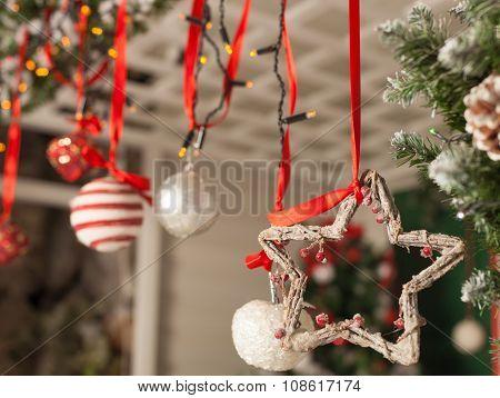 House decorated to christmas celebration