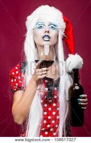 Christmas Woman With Wine