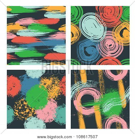 Set of seamless hand drawn patterns with different geometric and artistic elements.