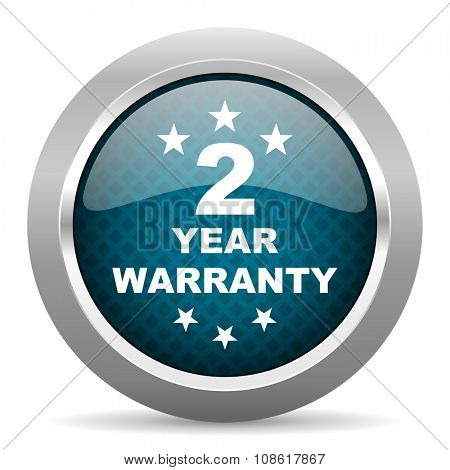 warranty guarantee 2 year blue silver chrome border icon on white background