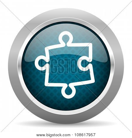 puzzle blue silver chrome border icon on white background