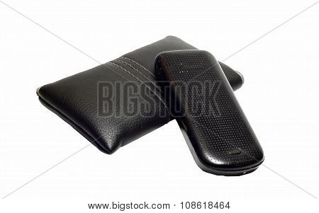Black Leather Case For Mobile Phone And Old Phone