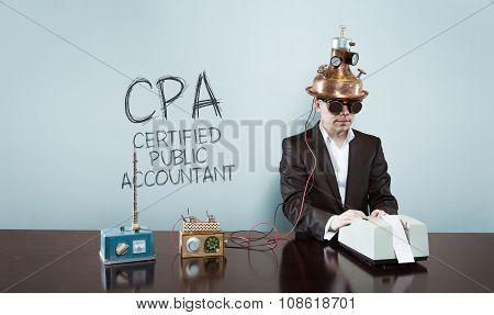 Certified public accountant concept with vintage businessman and calculator