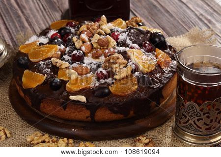 Pie With Chocolate Glaze And Fruit